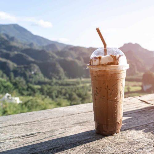ice-mocha-coffee-mountain-view-sunlight-morning